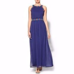 Sabine embroidered blue maxi dress